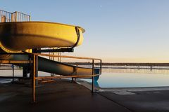View of a water slide in the evening by English Bay stock photo