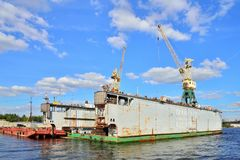 The view from the water of the slipway with a crane JSC Almaz Su Royalty Free Stock Photo