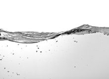 View on water surface on white