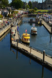 A view of water taxis on Victoria's landmark waterfront, Victoria Royalty Free Stock Images