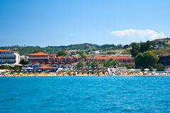 View from water to coastline. Landscape. View from water to coastline. Summer at the Greece, Halkidiki, Kassandra royalty free stock image