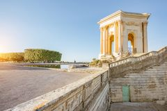 Montpellier city in France. View on the water tower in Peyrou garden during the morning light in Montpellier city in southern France stock image