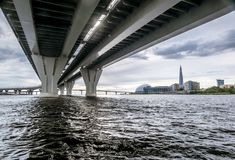 View from the water from under the bridge interchanges ring road. Saint-Petersburg.Russia.August 11, 2018.View from the water from under the bridge interchanges stock image