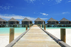 View of water villas resort on a Maldives Stock Photography