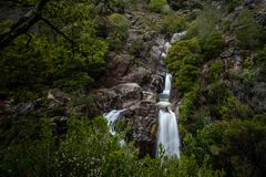 View of waterfall of Arado on Peneda Geres National Park, Portugal.  stock photos