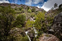 View of waterfall of Arado on Peneda Geres National Park, Portugal.  royalty free stock photos