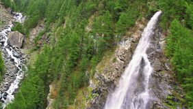 View on waterfall  near the Matterhorn in Swiss Royalty Free Stock Photography