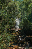 View of waterfall and people in the Itatiaia Park. Royalty Free Stock Photos
