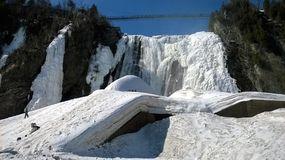 View of a waterfall under a beautiful winter day in Quebec Canada. View of a waterfall under a beautiful blue sky on a winter day in Quebec Canada Royalty Free Stock Image