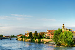 View of waterfront of the Adige River from Ponte Navi, Verona Stock Image