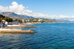View of waterfront along embankmen in Alushta city Royalty Free Stock Images