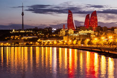 View of the waterfront and the city at night, in Baku, Azerbaija Stock Photography