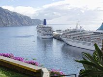 View of the waterfront with Cruise Ships in Funchal on the island of Madeira in the Atlantic Ocean. Funchal is the Capital of the island of Madeira. The Stock Photo