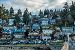 Dash Point Waterfront Homes 3. A view of waterfront home at Dash Point, Washington royalty free stock image