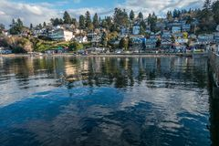 Dash Point Waterfront Homes. A view of waterfront home at Dash Point, Washington stock image