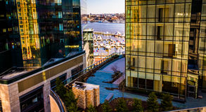 View of the waterfront and modern buildings in Harbor East from Royalty Free Stock Image