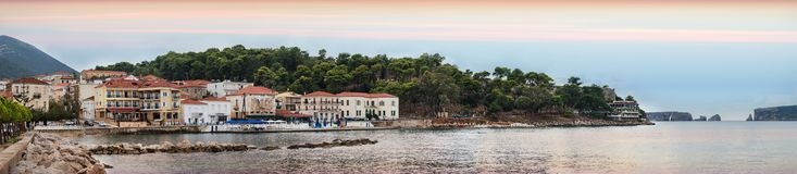 View of the waterfront of Pylos at sunset, Greece stock photo