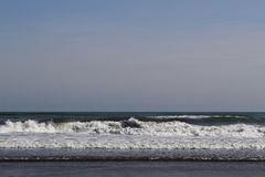 View of waves from Kujukuri Beach on Japan`s Pacific Ocean coast. Stock Photos