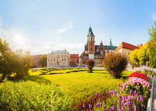 View of Wawel castle and Cathedral with garden, Cracow, Poland Royalty Free Stock Photography
