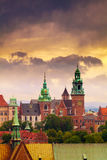 View of Wawel Castle from clock tower in the main Market Square, Cracow, Poland. Panoramic view of Wawel Castle from clock tower in the main Market Square Royalty Free Stock Photo