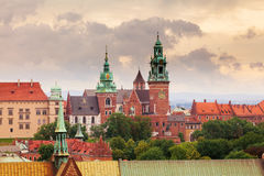 View of Wawel Castle from clock tower in the main Market Square, Cracow, Poland. Panoramic view of Wawel Castle from clock tower in the main Market Square Stock Photo