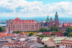 View of Wawel Castle from clock tower in the main Market Square, Cracow, Poland. Panoramic view of Wawel Castle from clock tower in the main Market Square Stock Photos