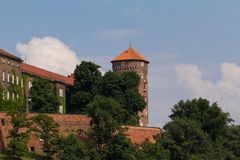 View on wawel  royal castle with sandomierska tower in cracow in poland Royalty Free Stock Photography