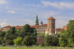 View on Wawel Royal Castle and Vistula boulevards, Cracow, Poland Stock Photography