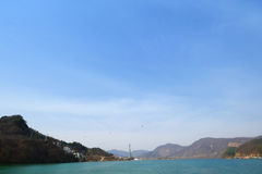 View on the way to Namiseom Island. View on the way to Namiseom Island, South Korea. / 31 March 2016  with copy space Royalty Free Stock Photo