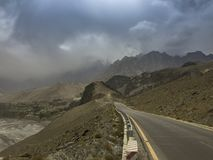 View of the way to Passu, Gilgit, Pakistan. View or Karakoram Highway near Passu Pakistan. Passu is a small village on the Karakoram Highway, beside the Hunza Royalty Free Stock Photography