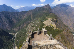 View from Waynapicchu to  Machu Picchu and bus road, Peruvian  H. View from Waynapicchu to Machu Picchu and bus road, was designed Peruvian Historical Sanctuary Royalty Free Stock Image