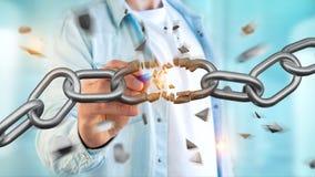 Weak link of a Broken chain exploding - 3d render. View of a Weak link of a Broken chain exploding - 3d render Stock Photography