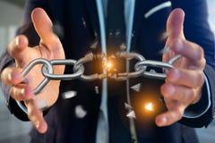 Weak link of a Broken chain exploding - 3d render. View of a Weak link of a Broken chain exploding - 3d render Royalty Free Stock Photos
