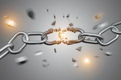 Weak link of a Broken chain exploding - 3d render. View of a Weak link of a Broken chain exploding - 3d render stock illustration