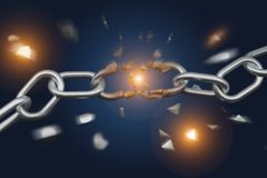 Weak link of a Broken chain exploding - 3d render. View of a Weak link of a Broken chain exploding - 3d render Royalty Free Stock Photo