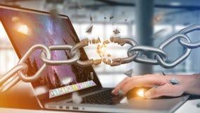 Weak link of a Broken chain exploding - 3d render. View of a Weak link of a Broken chain exploding - 3d render Stock Image