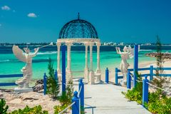 View on the wedding chapel on the tropical beach. royalty free stock images