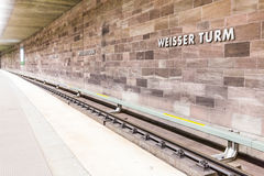 View of Weisser Turm subway station in the old town part of Nure Royalty Free Stock Photography