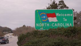 View of the Welcome North Carolina Sign stock video