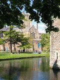 View of wells cathedral from Moat and Bishops Palace Stock Photos