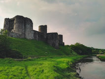 View of a welsh Castle and river Stock Image