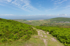 View of Welsh countryside on top of Rhossili Down mountain by the beach on The Gower Royalty Free Stock Photography