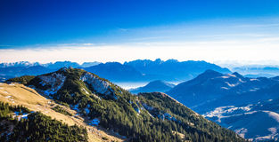 View from Wendelstein mountain. View from Wendelstein into the Bavarian and Austrian Alps Stock Image