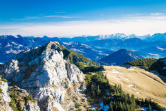 View from Wendelstein mountain. View from Wendelstein into the Bavarian and Austrian Alps Stock Photos