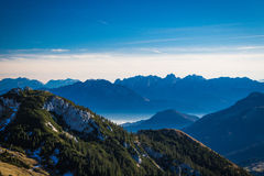 View from Wendelstein mountain. View from Wendelstein into the Bavarian and Austrian Alps Stock Images