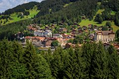 View on Wengen. Car free mountain village Wengen in the Bernese Alps on a sunny day in summer. Wengen, Bernese Oberland, Switzerland Stock Images
