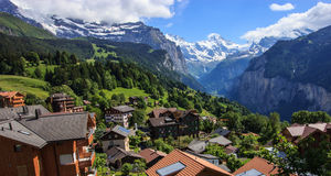 View of Wengen town, Jungfrau and Lauterbrunnen valley, Switzerland.  Royalty Free Stock Photo