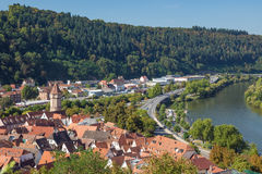 View of Wertheim seen from the Wertheim stronghold Royalty Free Stock Image