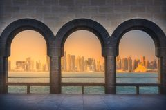 Skyline of West Bay and Doha City Center, Qatar Stock Photography