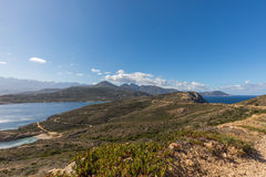 View of west coast and mountains of Corsica Royalty Free Stock Image